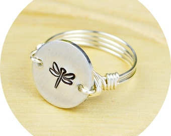 Dragonfly Ring- Hand Stamped Sterling Silver Filled Ring- Any Size- Size 4, 5, 6, 7, 8, 9, 10, 11, 12, 13, 14