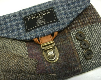 Clutch, Purse Made From Recycled Suit Coat, Blue Houndstooth wool,Eco Friendly