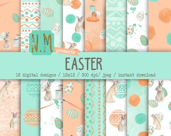 Easter digital paper pack watercolor pastel easter digital pattern mint green coral easter bunny spilled paint eggs paint brush spring