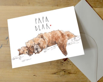 Papa Bear | A5 Greetings Card | Grizzly Bear | Father | Dad | Pops | Cute | Sweet | Father's Day | Birthday | Bears | Snowtap