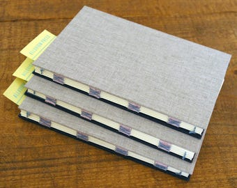 Handbound Journal : Gray and Navy sewn on handmade paper tapes