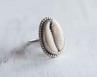 Cowrie Shell Ring, Sterling Silver Ring, Bohemian Ring, Statement Ring, Shell Jewellery, Oxidised, Sea Inspired Ring, UK N, US 6 1/2