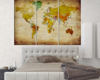 Large canvas art Old world map push pin wall art canvas print, travel map wall decal for nursery wall hanging extra large wall art No:qn66