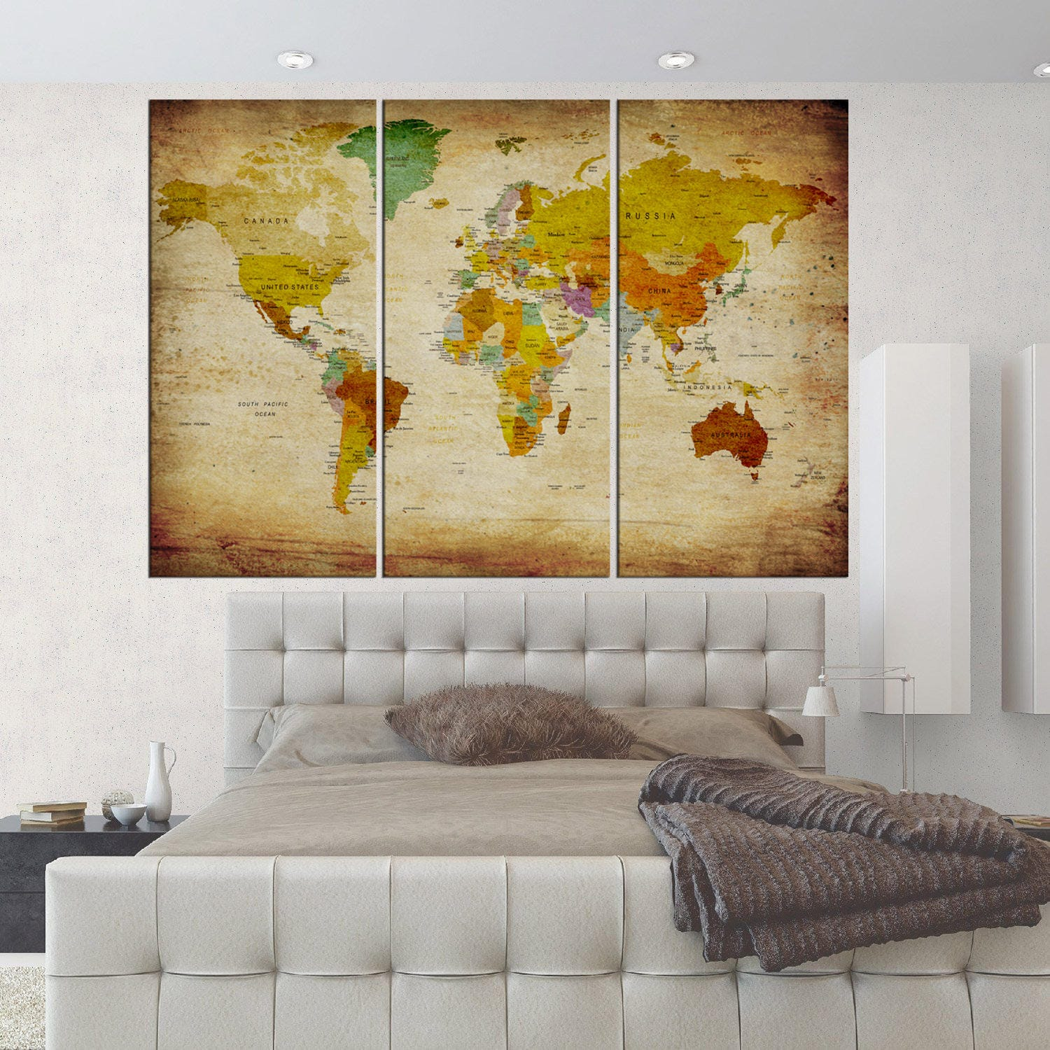 Large canvas art Old world map push pin wall art canvas print