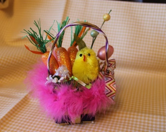Cute Chick Easter Floral Basket with Carrots and Eggs