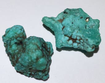 2pc Rare 12.9g Authentic Natural Raw Morenci Turquoise w/ Pyrite Crystal Nugget Set - Morenci, Arizona, USA - Item:TQ17059