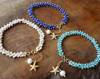 Mermaid Bracelet/ gold/ Friendship Bracelet/ Gift for her/ Bridesmaid Gift/ Everyday Jewelry/ Gift for Mom/ Beach Wedding/ Christmas gift