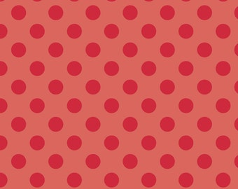 "RED Medium Dots ~ 3/4"" Diameter Dots ~ Tone-on-Tone ~ 100% Cotton Fabric ~ 1/2 yard ~ 18"" x 44"" ~ from Riley Blake C430-80"