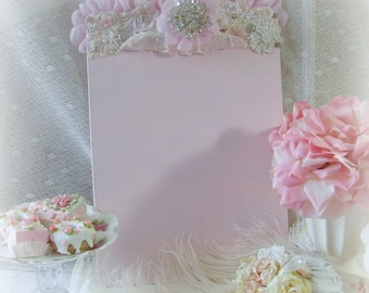 Pink Clipboard Bedazzled with Vintage Crystals, Bridal, Lace, Pearls, Pink Ruffles, Home Office, Office Supplies, Chic Clipboard