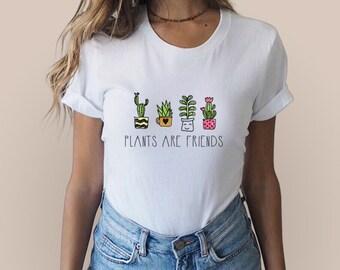 Plants Are Friends Shirt Vegan Shirt Vegetarian Shirt Tumblr Shirt Gift for Her Veggie Shirt Plant Based Shirt Gift for Vegan Vegan Life