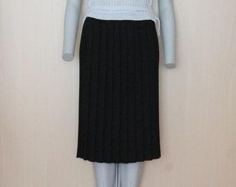 Black Vintage 80s Accordion Pleated Midi Skirt  Elastic Waistband