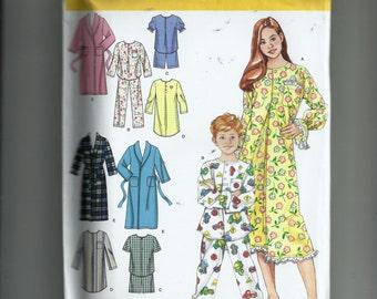 Simplicity Child's Pajamas, Nightshirt and Robe Pattern 4388