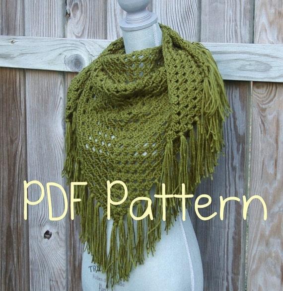 Crochet Pattern Crochet Shawl Pattern Triangle Scarf