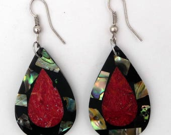 Earrings mother of Pearl abalone/coral and Shell drop shape