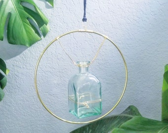 Hanging Gold Plant Holder for Plant Cuttings; Living Wreath