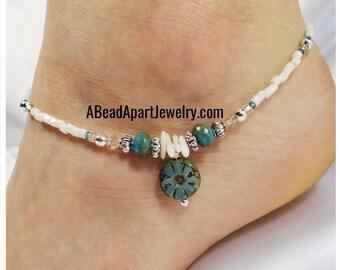 Anklet Ankle Bracelet, Blue Flower Anklet, Blue Anklet, Turquoise Anklet, Beach Anklet, Summer Anklet, Crystal Anklet, Beaded Anklet