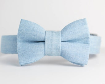 Spring Summer Dog Collar with Bowtie - Light Chambray