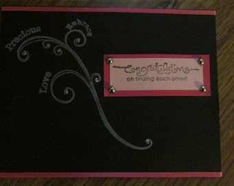 Handmade Wedding card.  Can be used as aniversary card.  Black and pink colors.