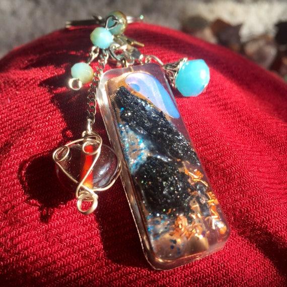 Love Orgonite® Keychain- Opal Orgone- Starseed Crystal Healing Keychain- Alchemy Magickal Protection Charm- Indigo Child Empath Orgone