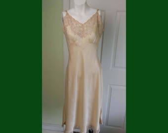 Vintage 1930's Woman's Satin Silk and Lace Bias Slip