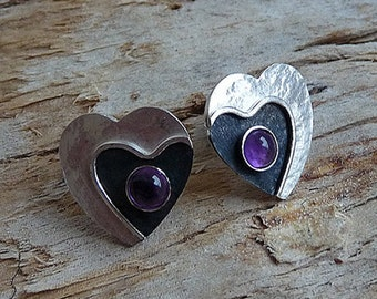 Sterling silver earrings. Silver earrings with amethyst. Heart earrings. Silver stud earrings. Post earrings. Handcrafted . MADE TO ORDER.