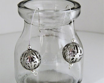 Hail Storm ..........Drop Earrings with  silver Ear Wires and Silver Colour Filigree Beads
