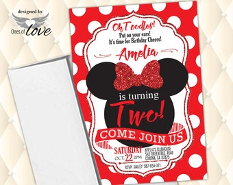 Minnie Mouse invitation, Red Minnie Mouse Birthday Invitation, first birthday invitation, 1st birthday invitation, 2nd birthday invitation
