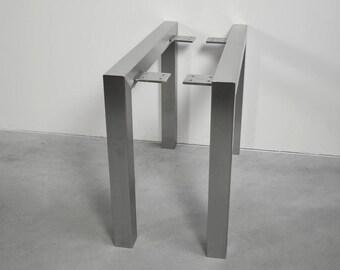 Coffee Table U Shaped Stainless Steel Table Legs,Brushed Finish,Custom Sizes,Handmade In U.S.