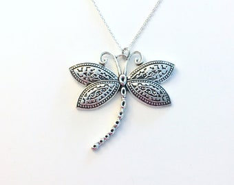 Large Dragonfly Necklace, Dragon Fly Statement Jewelry, Silver Charm Women Pendant Birthday Gift Present 925 Sterling Chain Dragonflies her