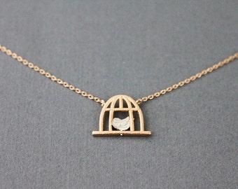 Birdcage Necklace . Tiny Charm Necklace Rose Gold Birdcage Charm Necklace
