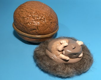 Mouse Sculpture - Tiny handmade 'sleeping mouse' in a handmade Walnut with wool bed