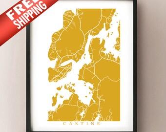 Castine Map Print - Maine Poster