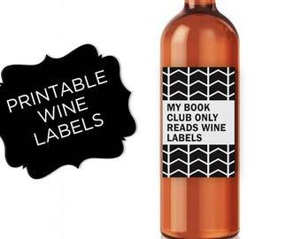 Book club best friend gift Wine Labels Wine gifts for women Wine Lover Gift Wine Bottle Label wine gift Wine Custom Bottle Labels party gift