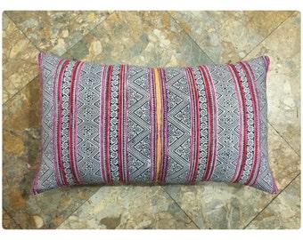 Vintage Handmade Tribal Hmong batik embroidered cotton hemp pillow cover