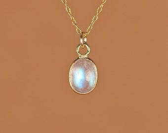 Rainbow moonstone necklace - moonstone necklace - blue flash - crystal - unicorn tear - a polished moonstone on a 14k gold vermeil chain
