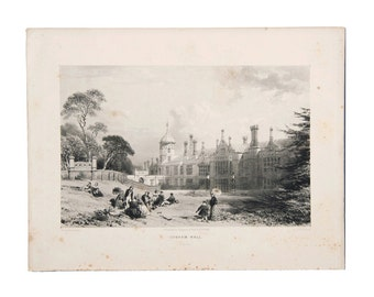 "Antique Original Litho Proof ""Cobham Hall"" England 1848, Antique Prints, Historical Prints, Engravings, Fine Art, Posters"