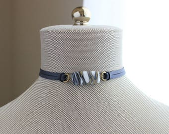 Unique Navy Blue Choker