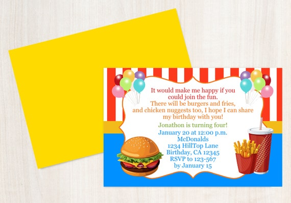 Fast Food Birthday Invitation Kids Birthday Invitation