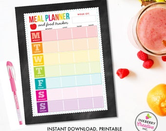 Printable Meal Planner and Food Tracker, Instant Download, PDF, Weekly Meal Planning, Food Tracking, Daily Meals Food Tracker, Food Journal