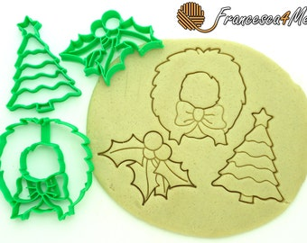 Christmas Cookie Cutter: Christmas Greens Cookie Cutter Set of 3/Multi-Size/Christmas Cookie Cutters