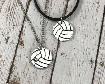 Custom Volleyball Charm with number - Hand-Stamped Charm Necklace - Sports