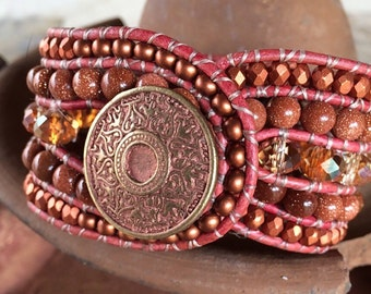 Handmade Beaded Cuff Bracelet, goldstone, copper and crystal beaded leather wrap
