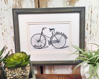 Bicycle | Bicycle print | Ride like a boss | Bicycle gift| Cyclist |Bike decor | Bike  | Home Decor | Decor  | gift for friend | Bike saying