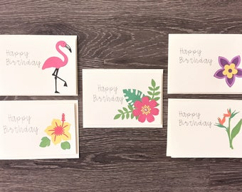 Happy Birthday Cards, Tropical Cards, Greeting Cards - Set of 5