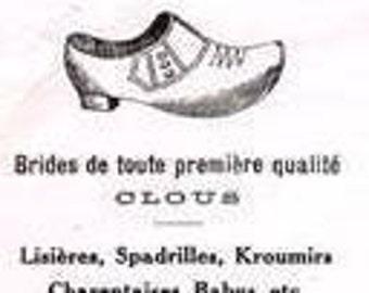 Antique Vintage Sabots Wooden Shoe Maker's Illustrated Letterhead Stationery French Belgian 1925 Paper Ephemera