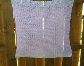 Baby Girl Crochet Afghan; New Baby Crochet Afghan; Pink and White Baby Afghan; Baby Afghan; Crochet Afghan; Baby Shower Gift; Crochet