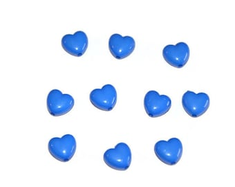 dark blue colored 10mm heart shaped 10 acrylic beads