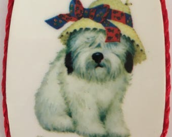Sheep dog wearing a hat magnet, vintage made in 1980's,