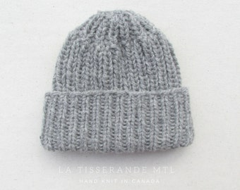 Knit hats women | Knit hat | Wool knit hat | Ribbed hat | Canadian wool // The Ribbed Beanie in light gray