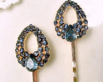 Sapphire Navy Blue Bridal Hair Pins,Rhinestone Art Deco Gold,Something Blue Vintage Wedding Bridesmaid Bobby Pin Set 2 Bridesmaids Gift Clip
